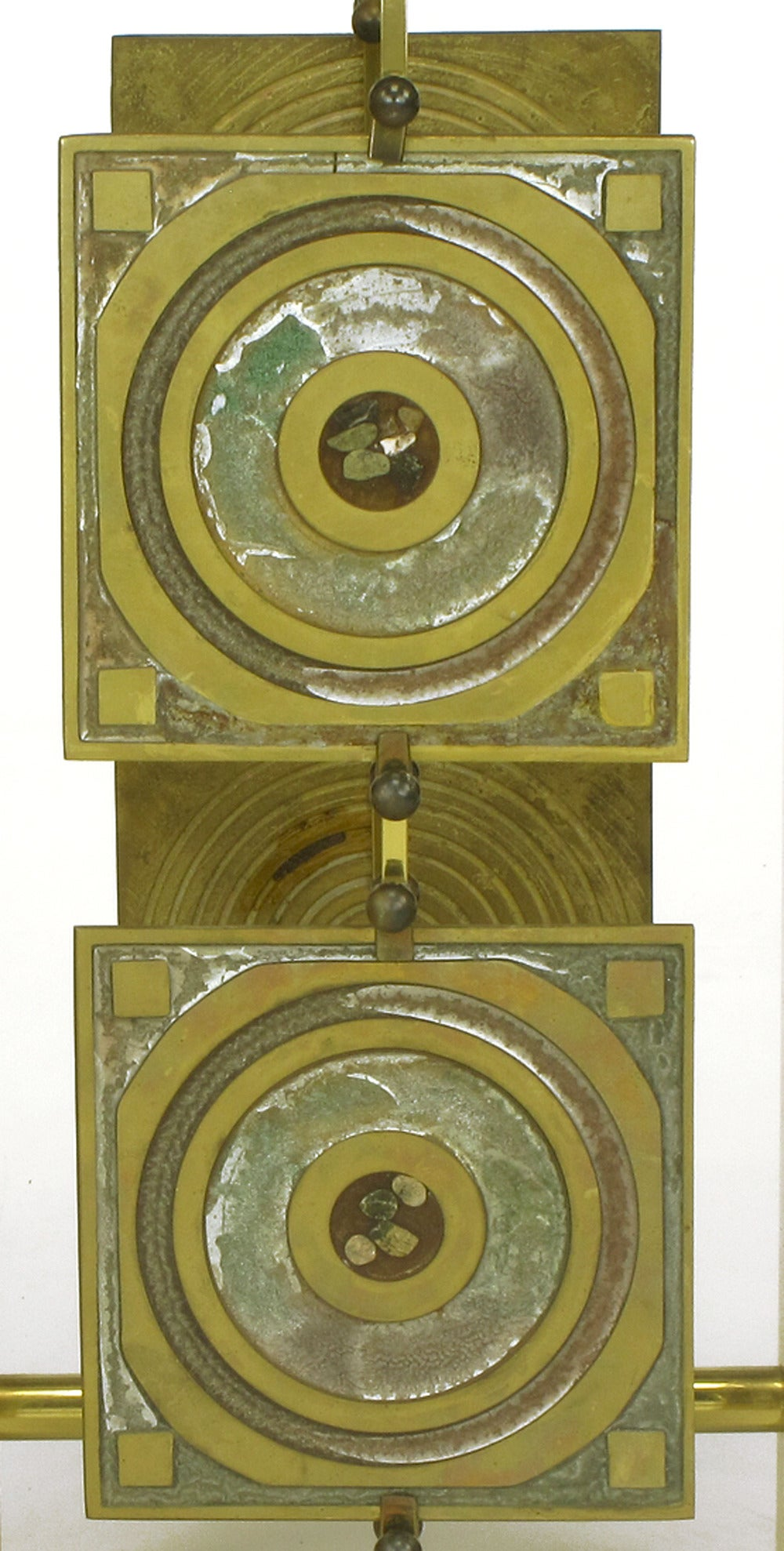Postmodern Enameled Brass Panel Studio Side Table For Sale 4