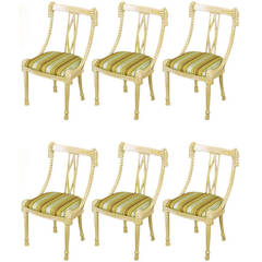 Six Ivory Glazed Carved Wood Rope and Tassel Dining Chairs