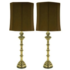 Pair of Stiffel Patinated Brass Table Lamps