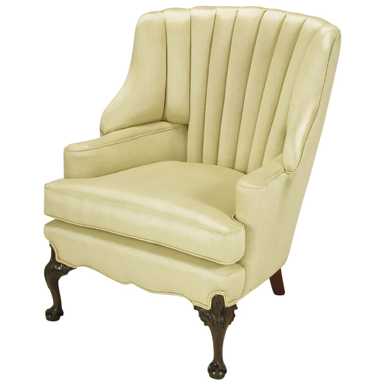 Superior 1930s Channel Back Claw Foot Georgian Wingback Chair 1