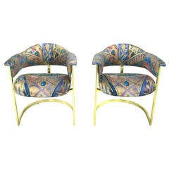 Pair of Brass Cantilevered Armchairs with Barrel Backs