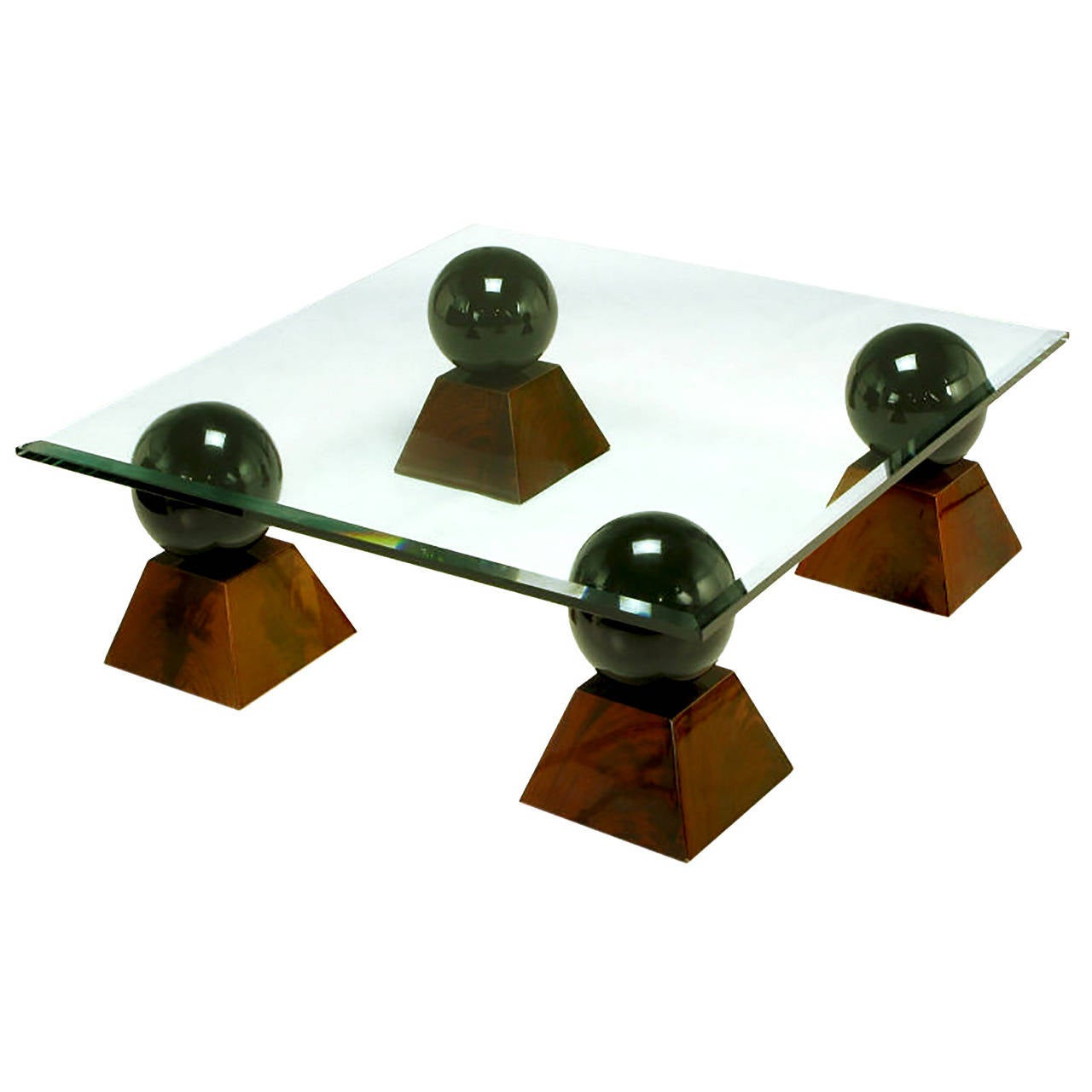 Italian Coffee Table of Glass Top over Black Spheres on Mahogany Pyramids For Sale