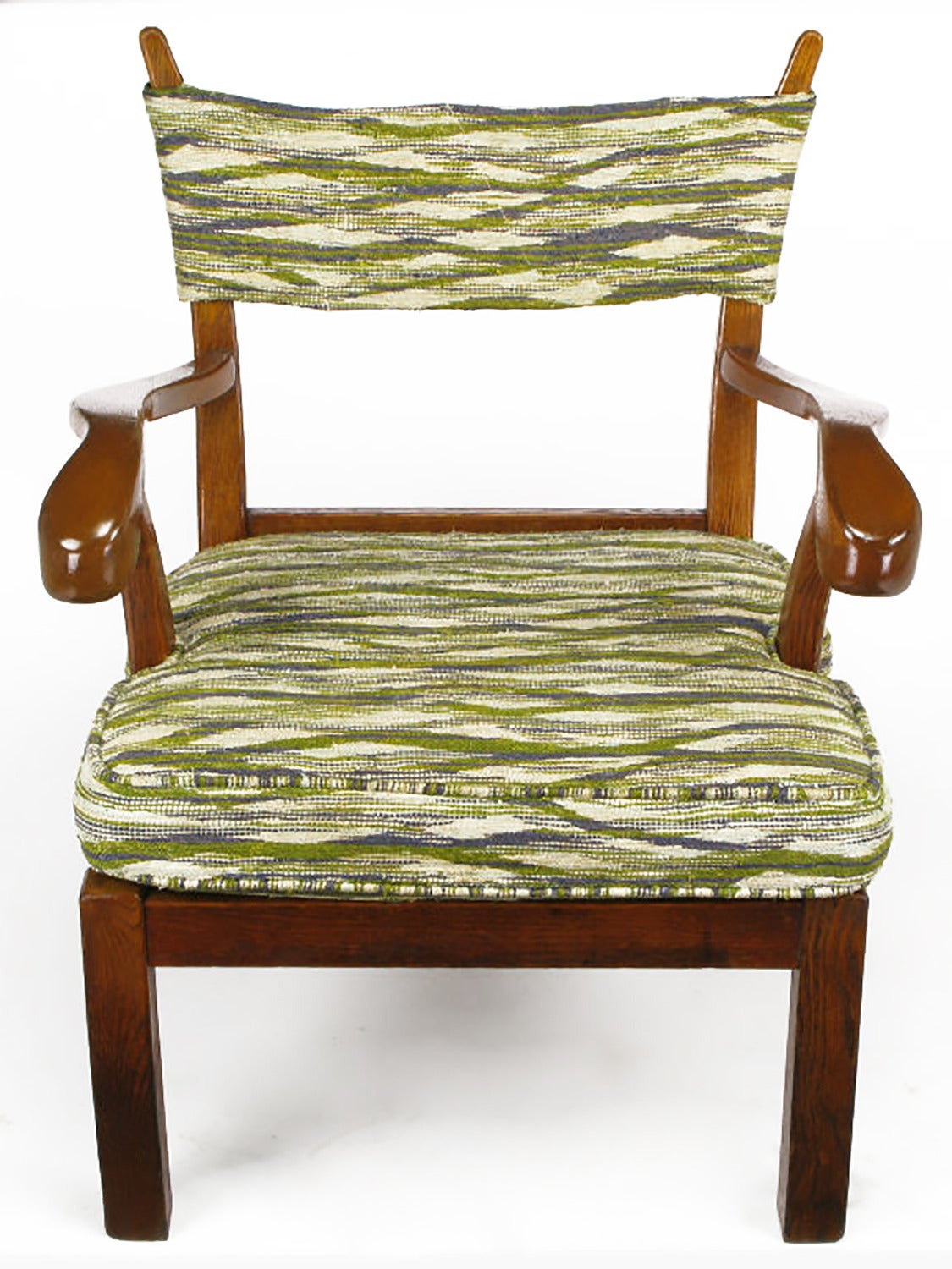 Unusual Studio Carved Oak Armchair in Liebes Style Fabric For Sale 2