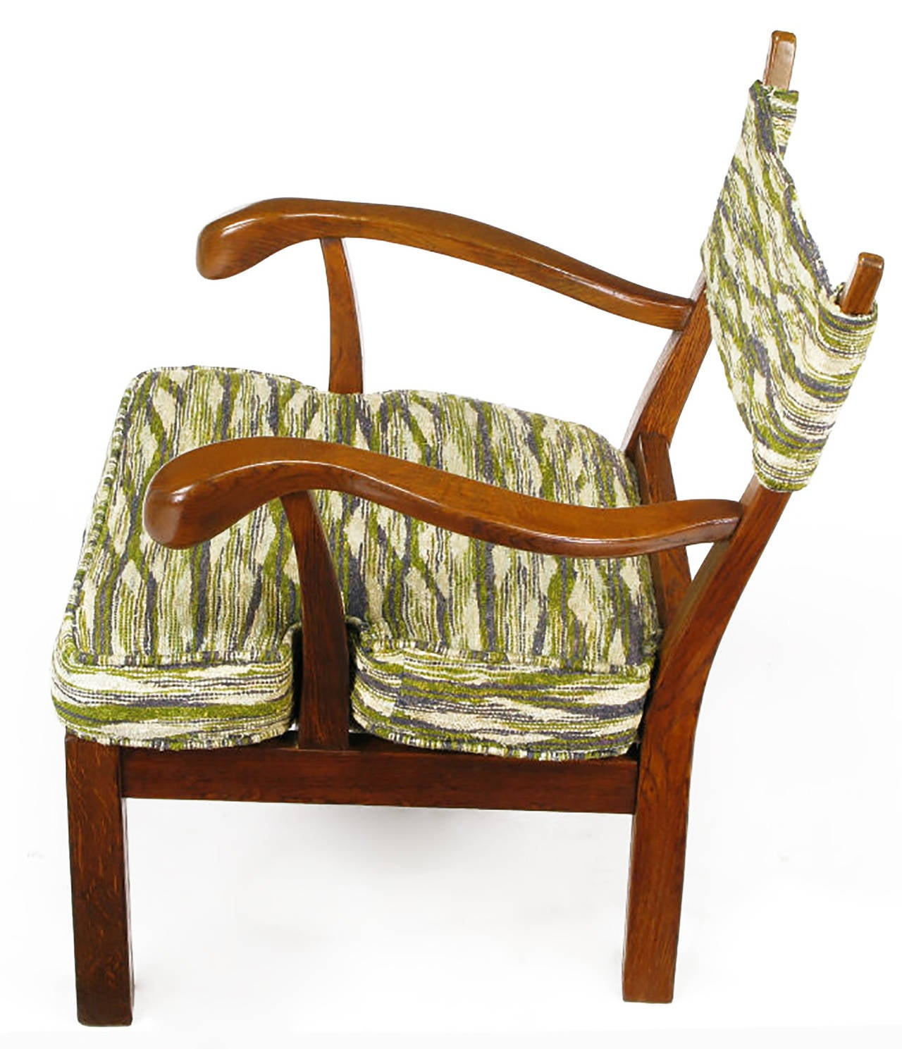 Unusual Studio Carved Oak Armchair in Liebes Style Fabric For Sale 3