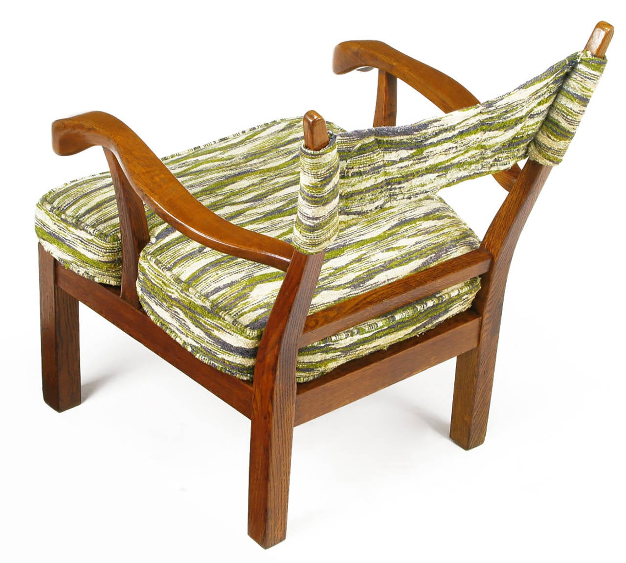Mid-20th Century Unusual Studio Carved Oak Armchair in Liebes Style Fabric For Sale