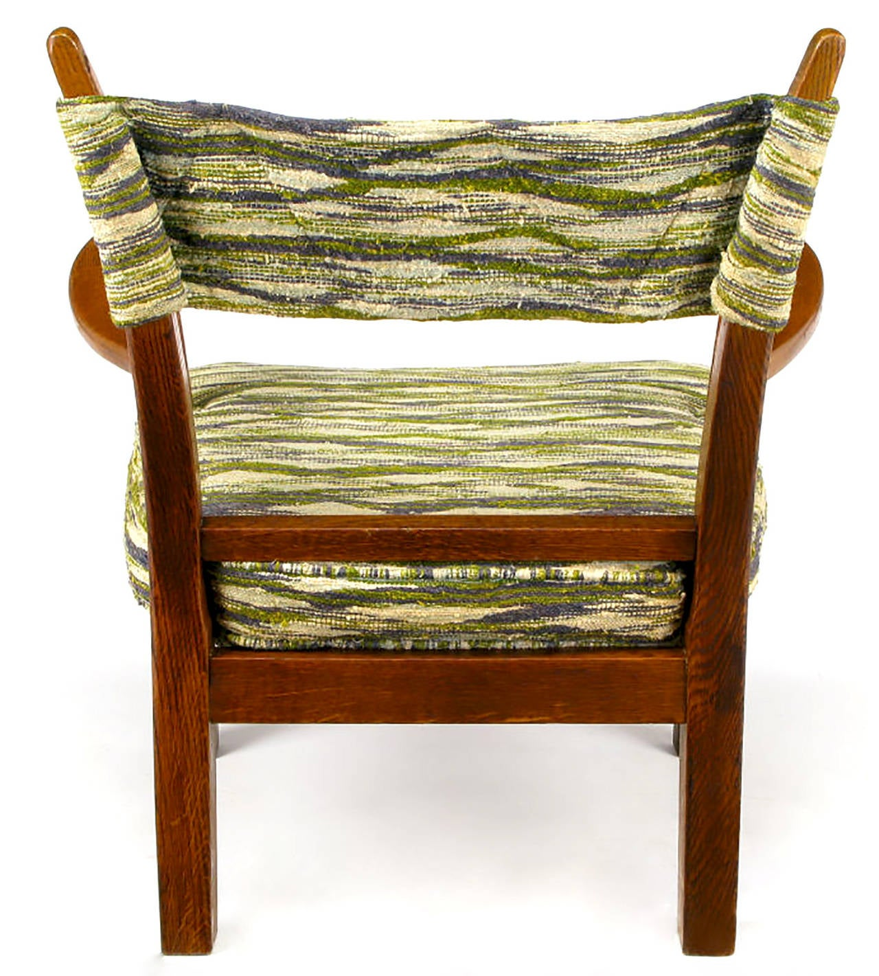 Unusual Studio Carved Oak Armchair in Liebes Style Fabric For Sale 1