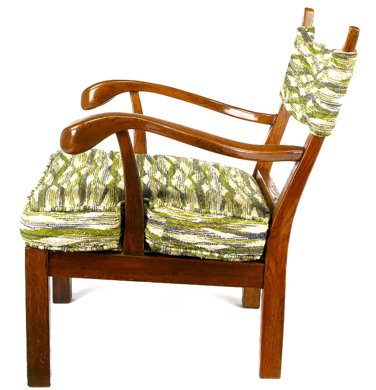Unusual Studio Carved Oak Armchair in Liebes Style Fabric In Good Condition For Sale In Chicago, IL