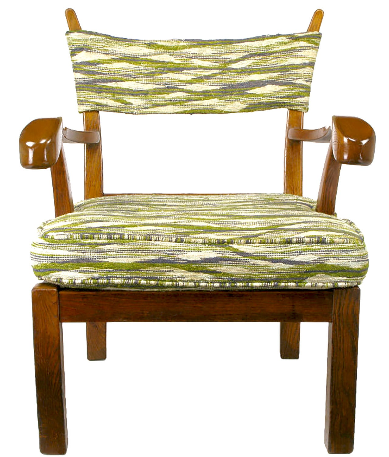 American Unusual Studio Carved Oak Armchair in Liebes Style Fabric For Sale