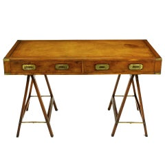 Early 1900s Campaign Desk with Tooled Leather Top