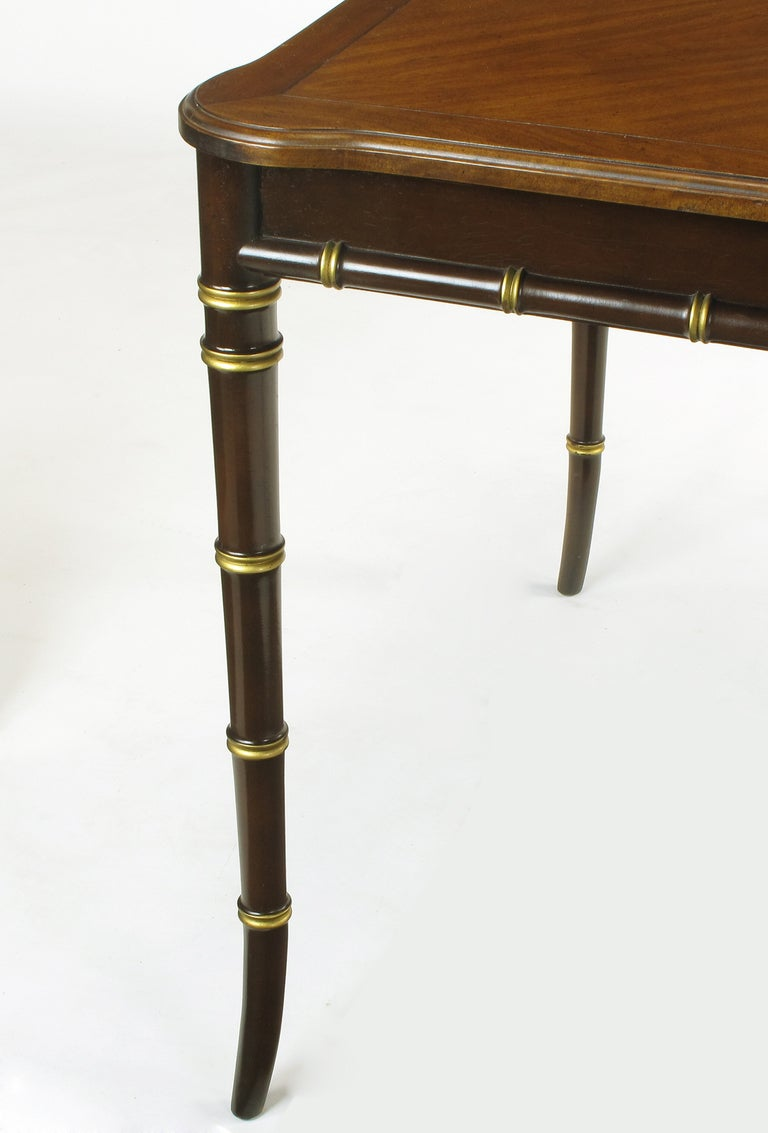 Kindel Petite Walnut Dining Table With Bamboo Form Legs