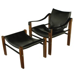 "Maurice Burke For Arkana ""Safari"" Lounge Chair and Ottoman"