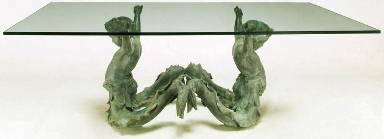 Bronze Putti Di Mare and Glass Dining Table In Excellent Condition For Sale In Chicago, IL