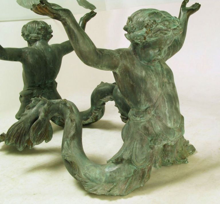 Bronze Putti Di Mare and Glass Dining Table For Sale 2
