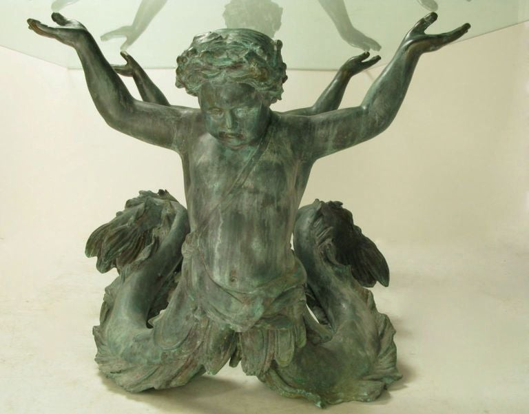 Bronze Putti Di Mare and Glass Dining Table For Sale 1