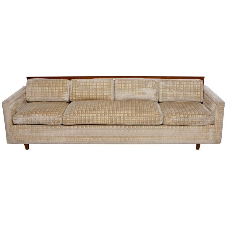 Baker Furniture Walnut And Down Filled Velvet Sofa For Sale At 1stdibs