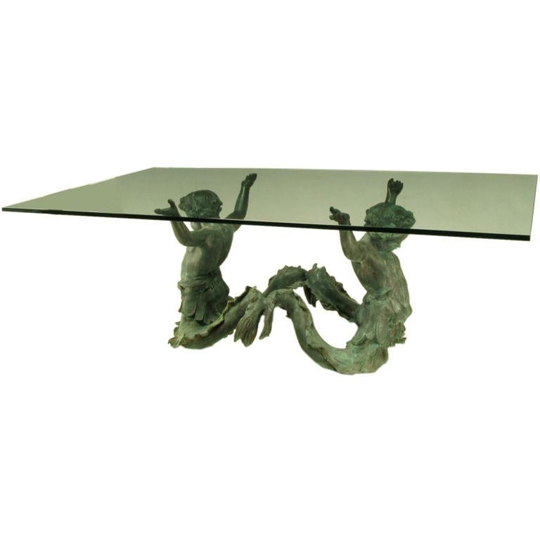 Italian Bronze Putti Di Mare and Glass Dining Table For Sale
