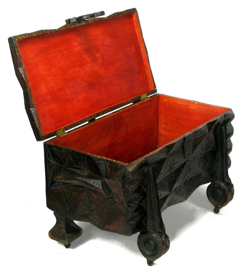 Wood Large Heavily Carved Spanish Style Trunk on Legs
