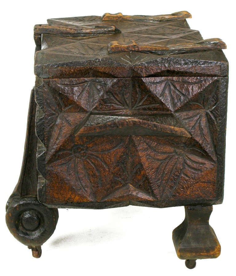 20th Century Large Heavily Carved Spanish Style Trunk on Legs