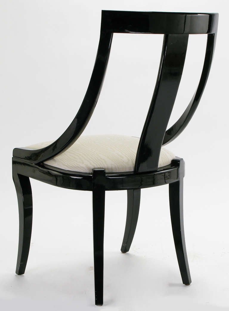Six italian black lacquer and moire dining chairs at 1stdibs for Black dining room chairs