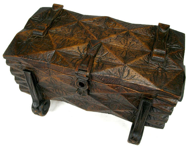 Large Heavily Carved Spanish Style Trunk on Legs In Good Condition In Chicago, IL
