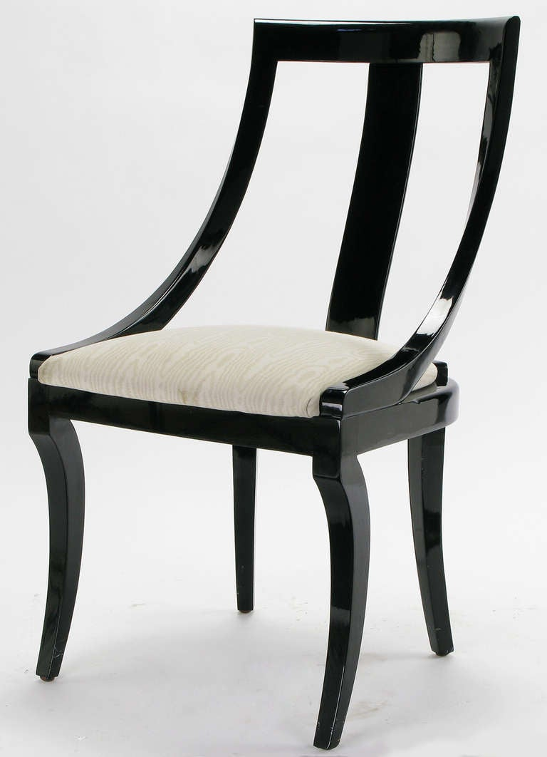 Six italian black lacquer and moire dining chairs at 1stdibs for Black dining room furniture