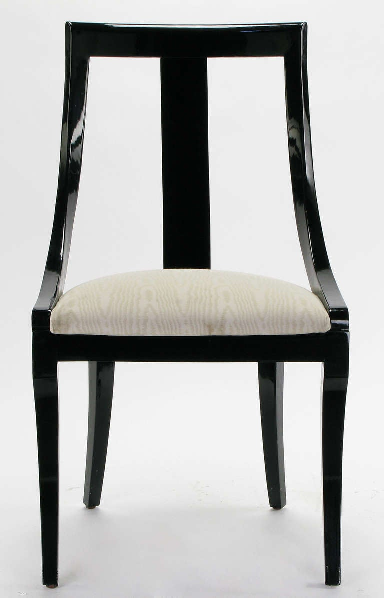 Six Italian Black Lacquer And Moire Dining Chairs At 1stdibs