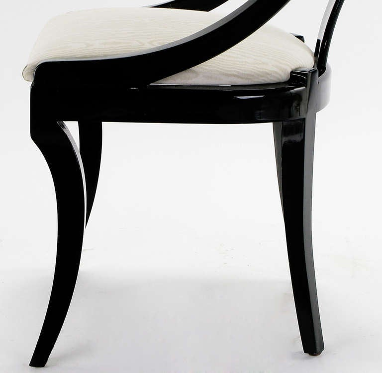 Black Lacquer Dining Room Chairs: Six Italian Black Lacquer And Moire Dining Chairs At 1stdibs
