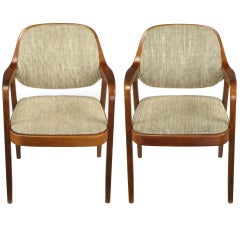 Pair of Don Pettit for Knoll Bent Mahogany Wood Armchairs, circa 1978