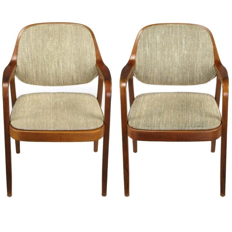 Pair of Don Pettit for Knoll Bent Mahogany Wood Armchairs, circa 1978