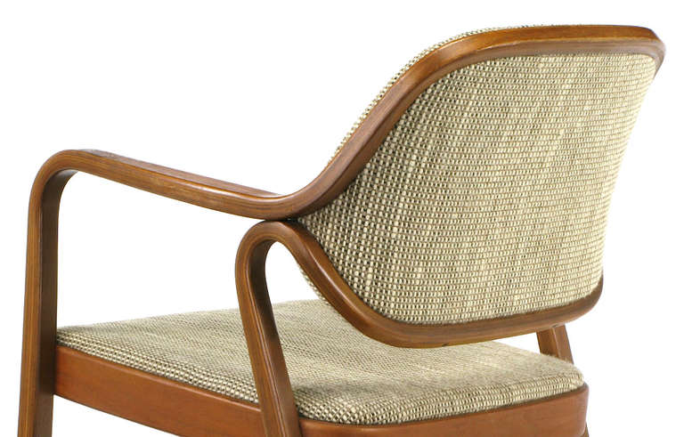 Pair Don Pettit for Knoll Bent Mahogany Wood Arm Chairs