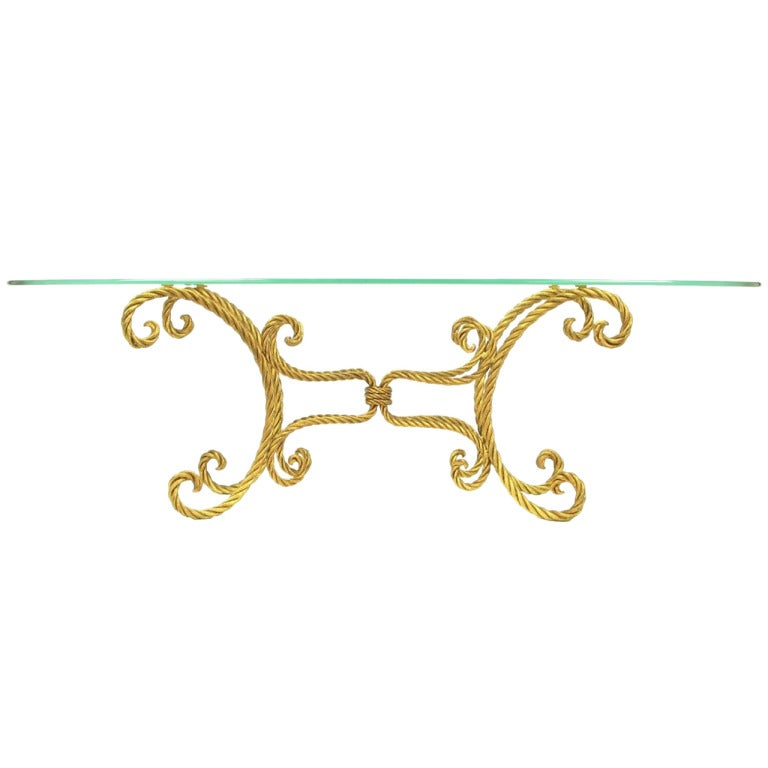 oval italian gilt braided metal rope coffee table for sale at 1stdibs