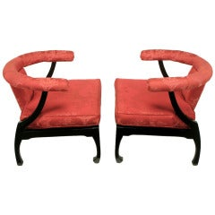 Pair of Black Lacquer Ming Style Silk Upholstered Chinese Lounge Chairs
