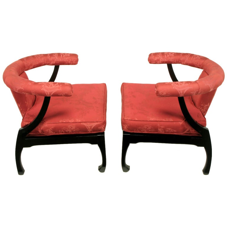 Pair of Black Lacquer Ming Style Silk Upholstered Chinese Lounge Chairs For Sale