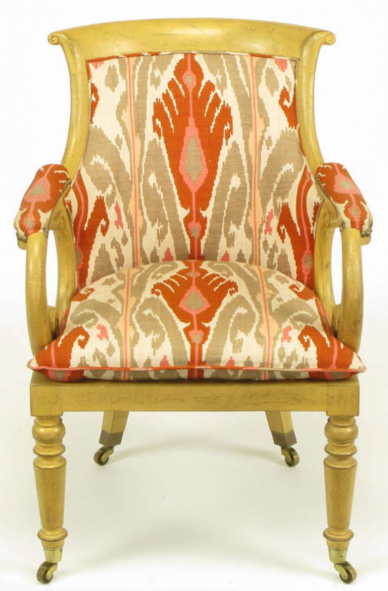pair of interior crafts regency scrolled arm chairs in ikat fabric for sale at 1stdibs