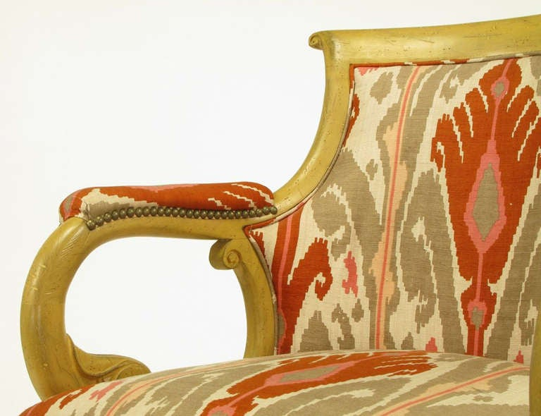 Pair Of Interior Crafts Regency Scrolled Arm Chairs In Ikat Fabric For Sale  3