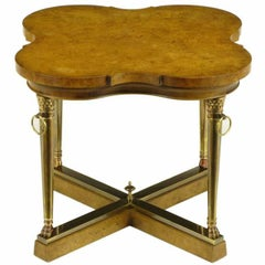 Mastercraft Empire Style Bronze and Burl Quatrefoil End Table