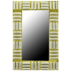 Brass & Spun Aluminum Custom Wall Mirror in the Manner of C. Jere, circa 1970s