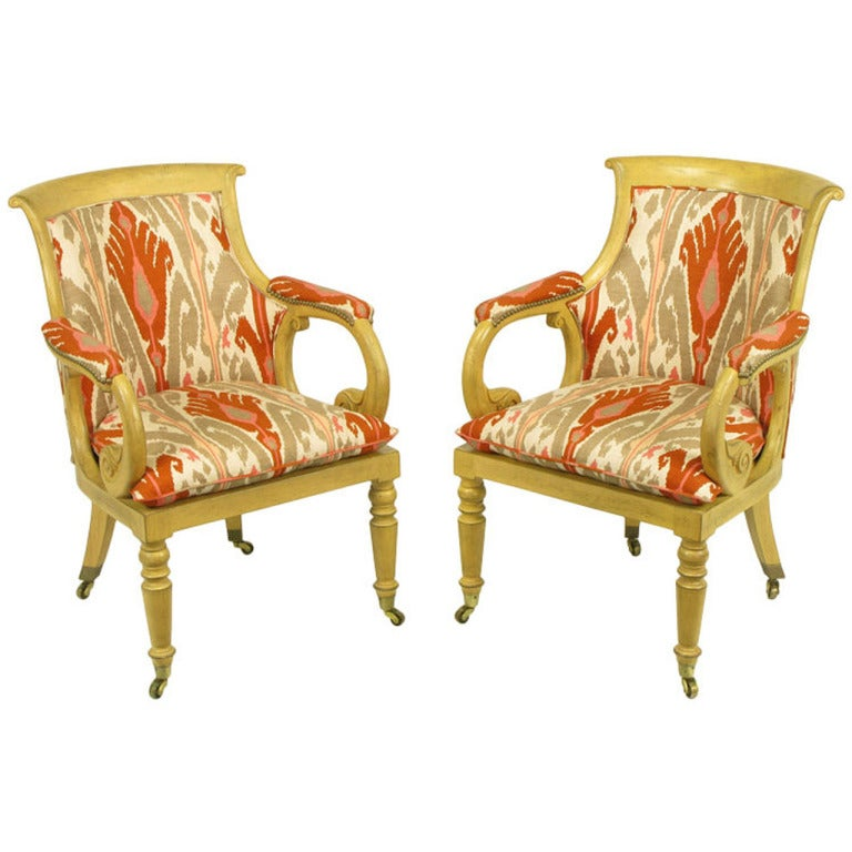 Pair of Interior Crafts Regency Scrolled Arm Chairs in Ikat Fabric
