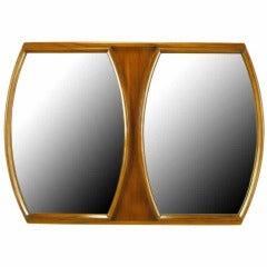 Modern Walnut Double Barrel Mirror