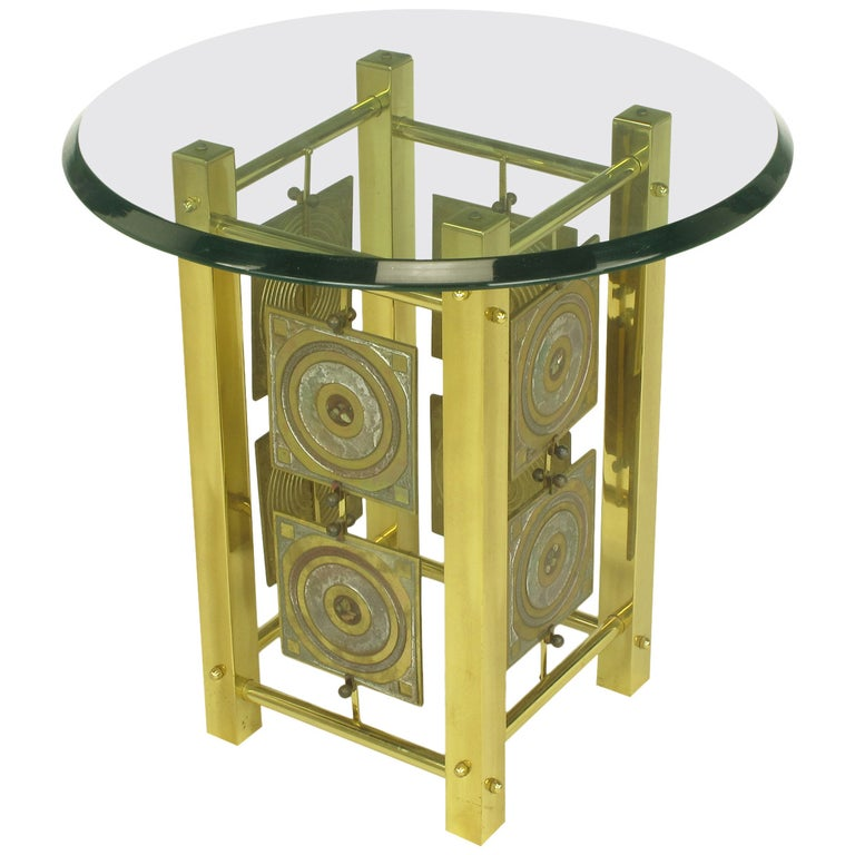 Postmodern Enameled Brass Panel Studio Side Table For Sale