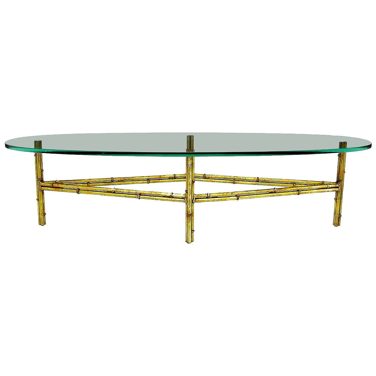 Gilt Faux Bamboo Metal Coffee Table With Surf Board Glass Top 1