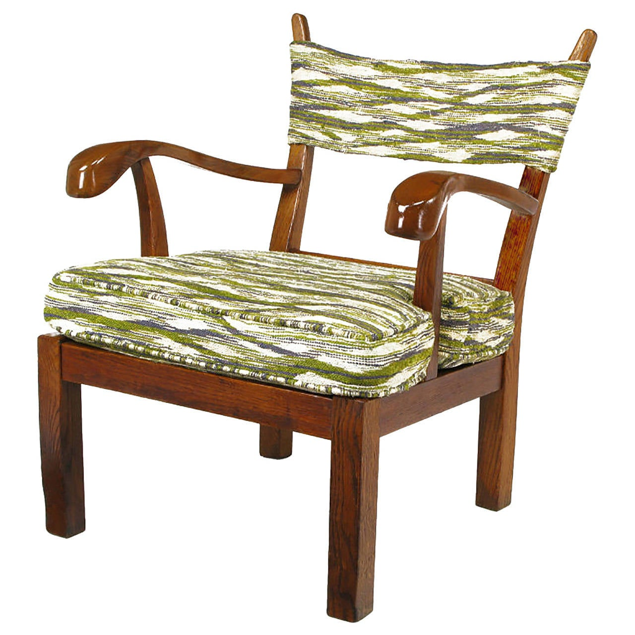Unusual Studio Carved Oak Armchair in Liebes Style Fabric