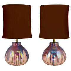 Pair of Lavender Iridescent Drip-Glaze Pottery Table Lamps