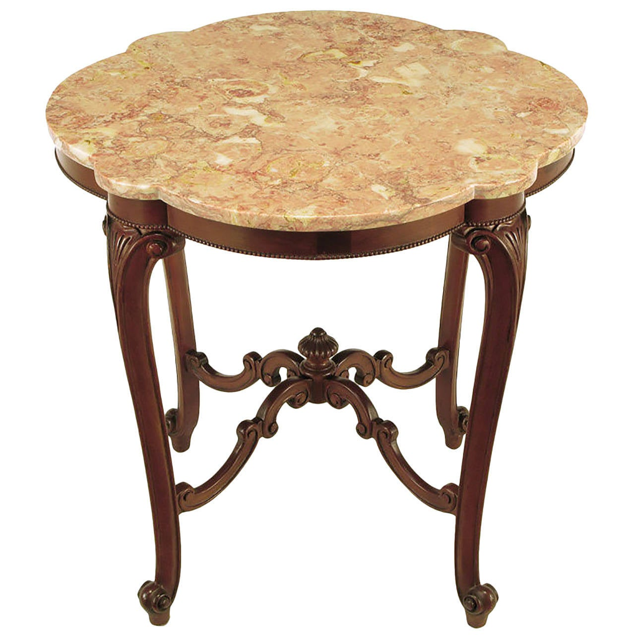 Rococo Mahogany and Rouge Marble Centre Table For Sale