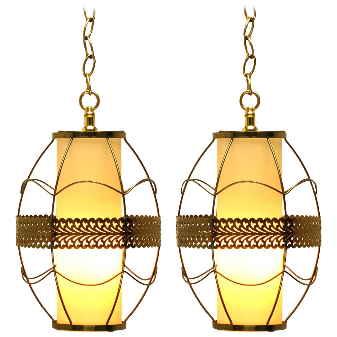 Pair of Brass Rod and Pierced Ribbon Pendant Lights
