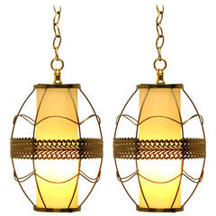 Pair of Brass Rod and Pierced Ribbon Pendant Lights