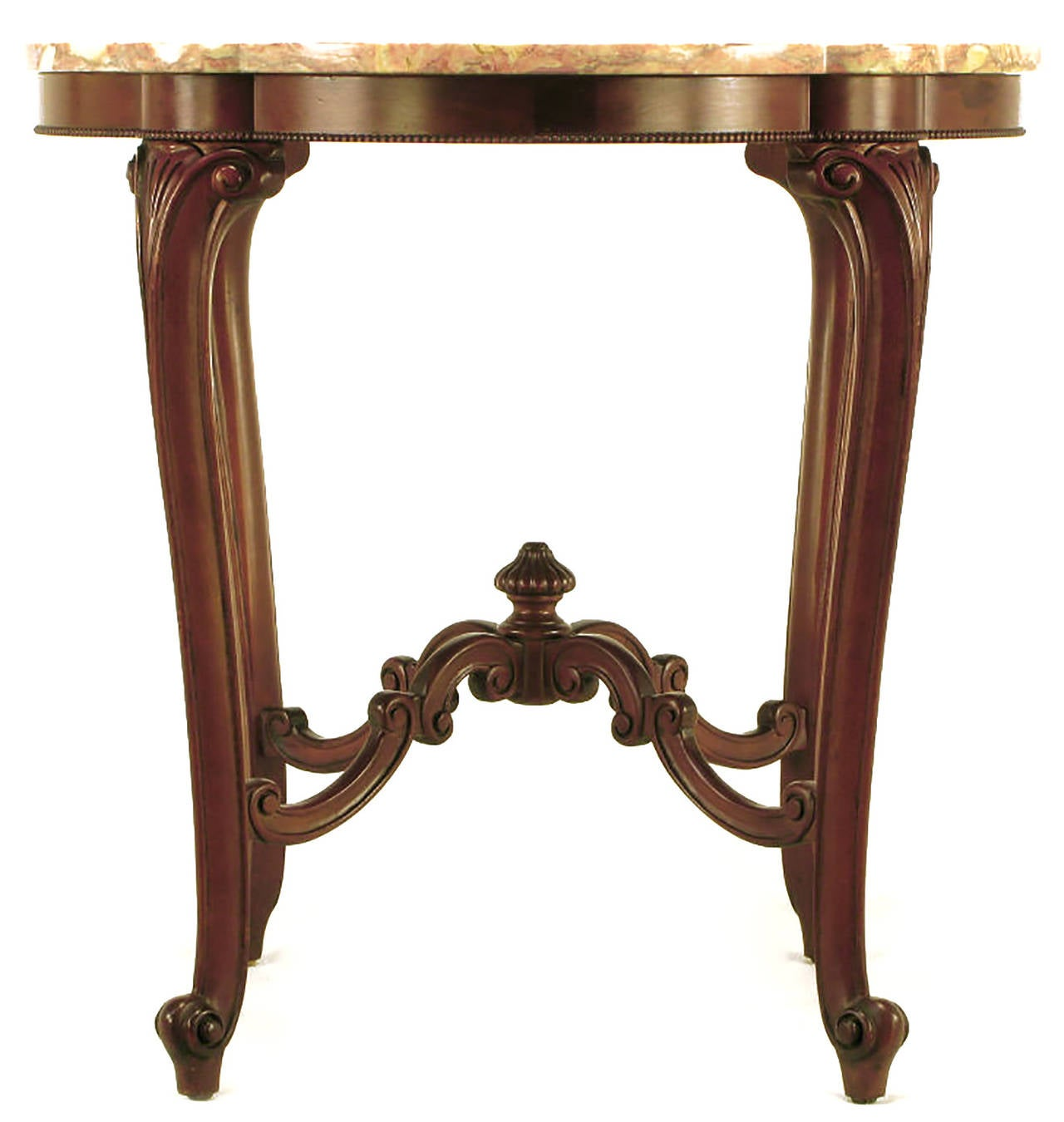 Rococo Mahogany and Rouge Marble Centre Table In Excellent Condition For Sale In Chicago, IL