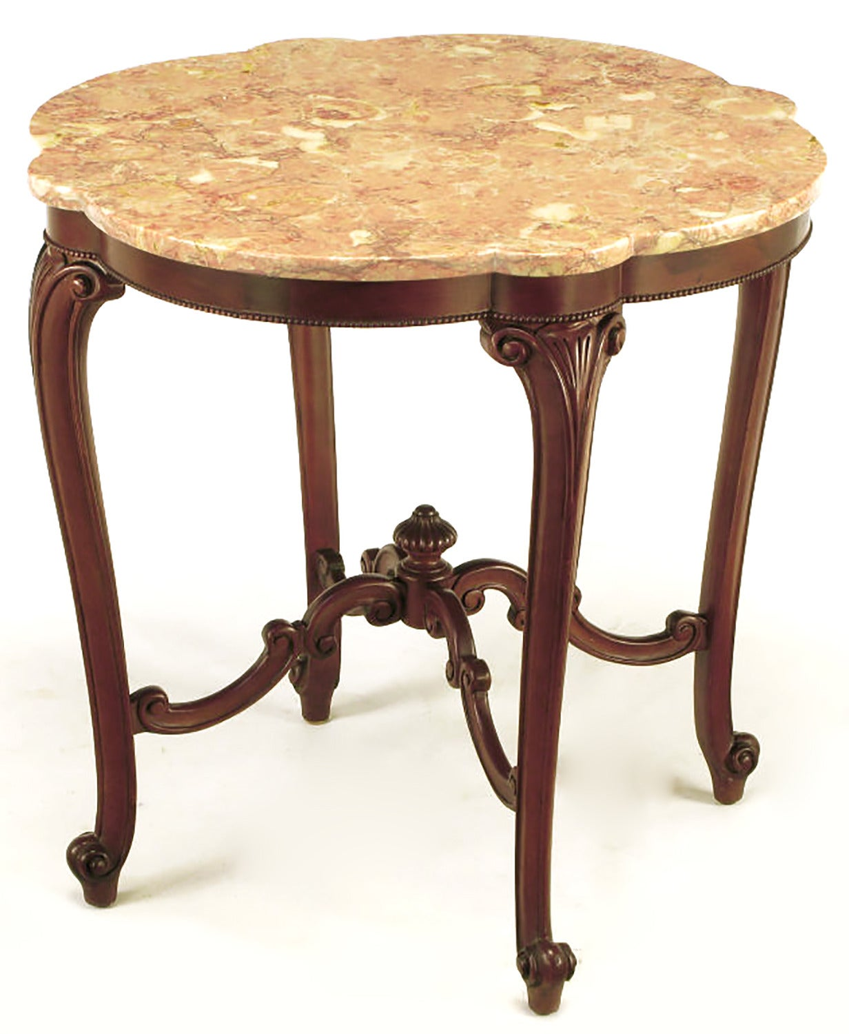 American Rococo Mahogany and Rouge Marble Centre Table For Sale