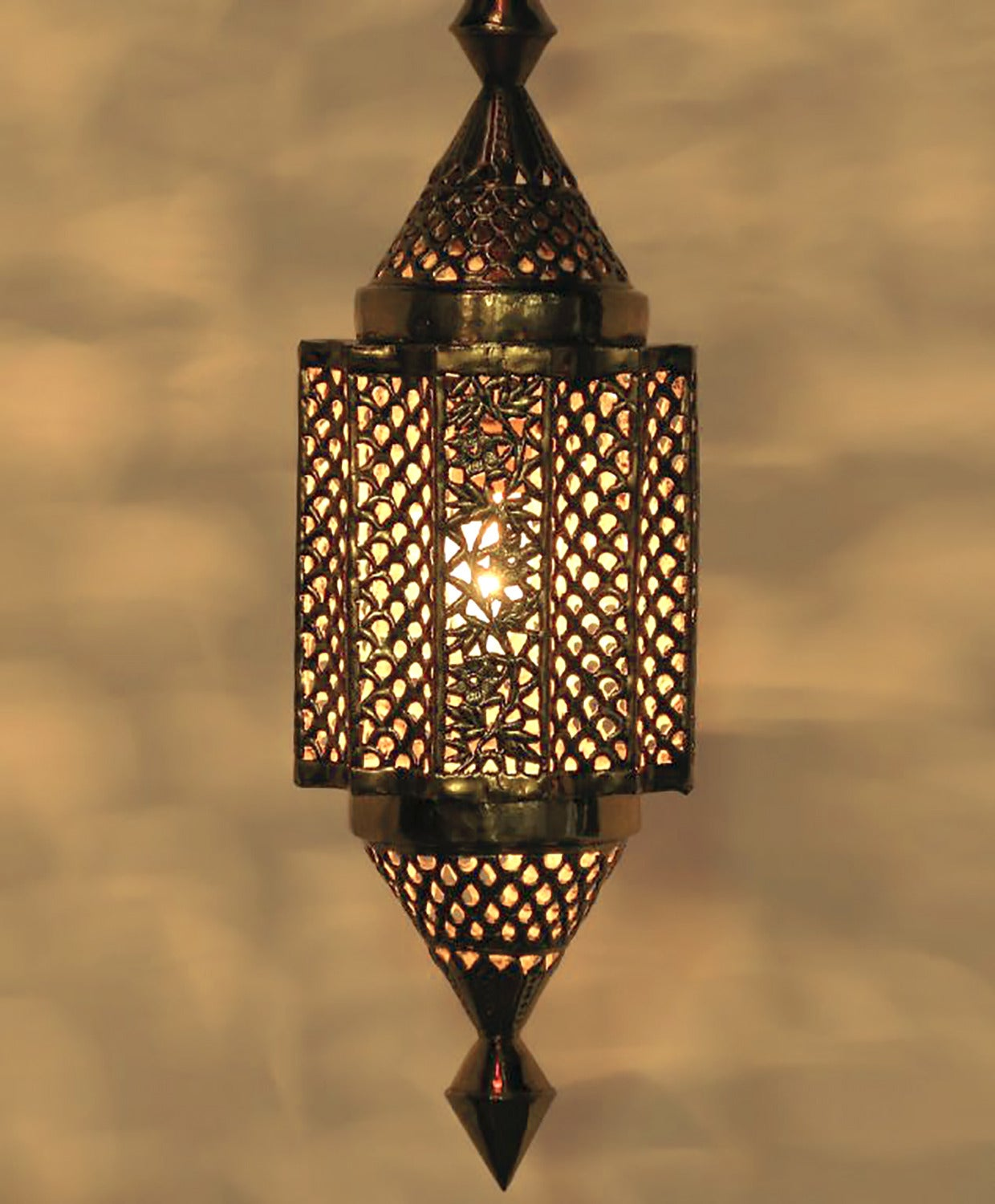 Moroccan Style Reticulated Br Pendant Light