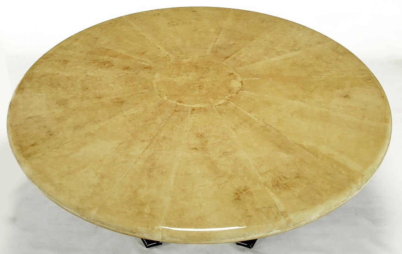 Empire Dining Table with Sunburst Goatskin Top and Chocolate Lacquer Base In Excellent Condition For Sale In Chicago, IL